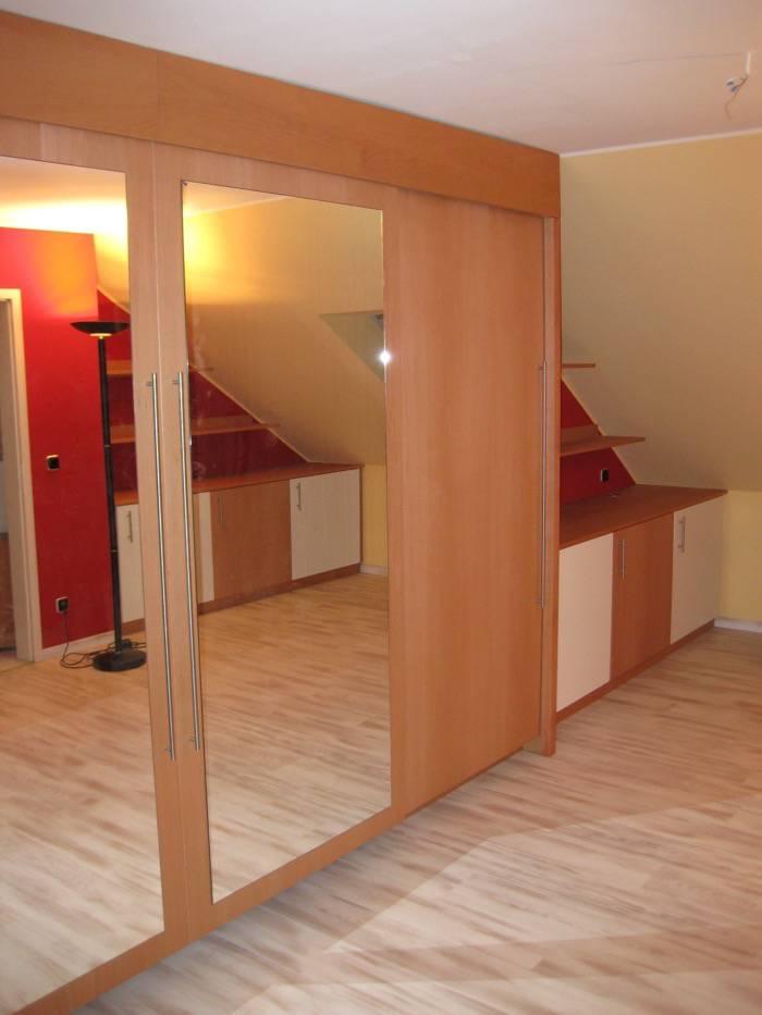 1 einbauschrank buche wei lack schiebet ren spiegel schreinerei rolf sch fer. Black Bedroom Furniture Sets. Home Design Ideas