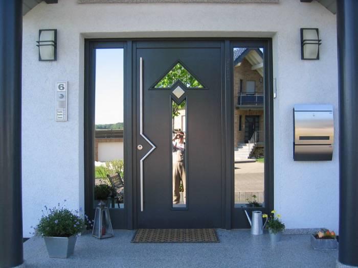 Haustüren modern grau mit seitenteil  mit Seitenteil – Meranti – grau – Spiegelglas | Schreinerei Rolf ...