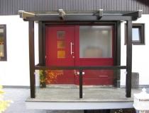 mit Seitenteil – Meranti – rot – mit Vordach Palisander