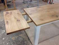 Tisch  Eiche – weiß lack – mit Ansteckplatte